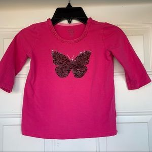 •Crown & Ivy Kids• Sequin Butterfly Top - Size 4